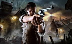Картинка маяк, проволока, деревня, зомби, мужчина, zombie, детектив, револьвер, враги, Bethesda Softworks, Tango Gameworks, The Evil …