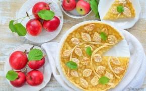 Обои яблоки, пирог, выпечка, декор