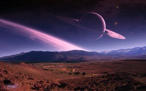 Картинка дорога, планета, кольца, арт, QAuZ, ланшафт