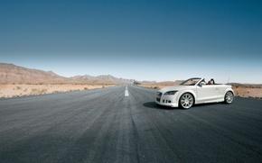 Обои дорога, белый, кабриолет, Audi