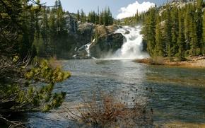 Обои водопад, California, деревья, речка, Йосемити, скалы, камни, США