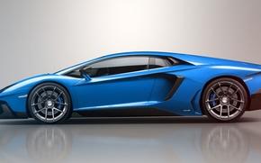 Картинка синий, отражение, Lamborghini, ламборджини, blue, LP700-4, Aventador, ламборгини, авентадор, LB834, profile, Jackdarton
