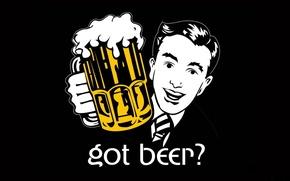 Картинка Черный, Взгляд, Лицо, Кружка, Пиво, Бокал, Фон, Надпись, Слова, Текст, Есть пиво?, Got beer?, Пивная