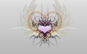 Картинка серый, минимализм, Сердце