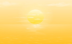 Обои ocean, yellow, sunset, clouds