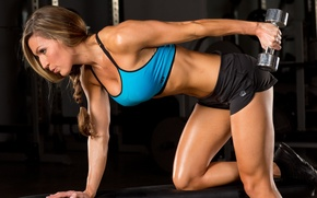 Обои female, workout, fitness, gym, dumbell, triceps