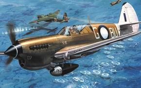 Обои aviation, ww2, painting, airplane, Curtiss P-40, war, art