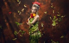 Обои азиатка, грибы, девушка, паприка, макияж, листья, салат, корона, фон, овощи, перец, взгляд, стиль