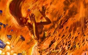 Картинка девушка, осколки, огонь, арт, романтика апокалипсиса, romantically apocalyptic, alexiuss