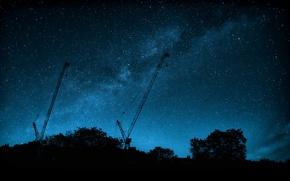 Картинка космос, звезды, деревья, силуэт, Млечный Путь, краны
