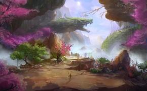Картинка деревья, пейзаж, горы, скалы, дракон, азия, человек, сакура, арт, копье, фонарики, фантастический мир
