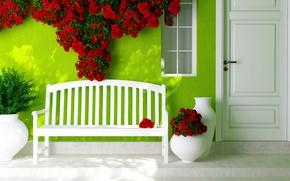 Картинка цветы, дверь, окно, лавочка, вазы, красные розы