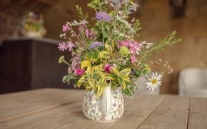 Картинка flowers, vase, bouquet, table, kettle
