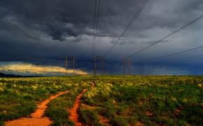 Картинка поле, небо, закат, тучи, Природа, grass, field, nature, sunset