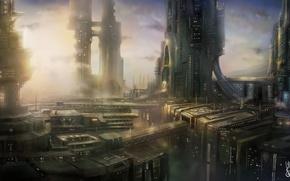 Картинка город, будущее, арт, мегаполис