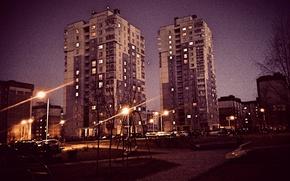 Картинка Ночь, Город, Улица, Фонари, Здания, Высотки, Минск