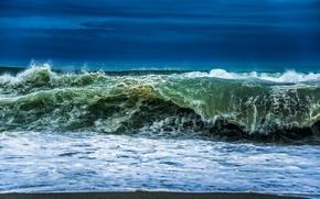 Картинка пляж, пена, природа, океан, волна