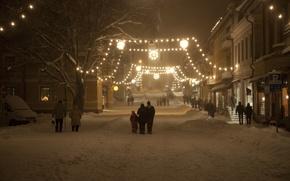 Картинка зима, снег, ночь, улица, новый год, рождество, гирлянды