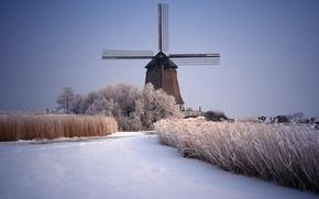 Картинка лед, зима, снег, река, мельница, Пейзажи
