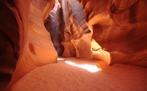 Обои песок, лучи, свет, природа, пещера, сша, аризона, пещеры, каньоны, лучь, америка u.s.a. antelope canyon
