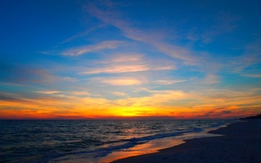 Картинка море, волны, небо, облака, закат, природа, берег