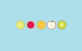 Обои яблоко, арбуз, киви, фрукты, апельсин, круги, лайм