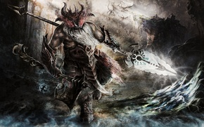 Картинка воин, рога, шлем, борода, топор