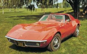 Обои Coupe, 1968, корвет, Chevrolet, шевроле, Corvette, авто, спорткар