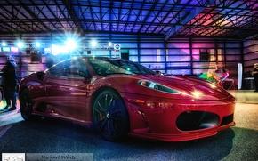 Картинка свет, тюнинг, гараж, выдержка, Феррари, hdr, самолеты, ангар, перед, Ferrari, red, красная, f430, tuning, Scuderia, …