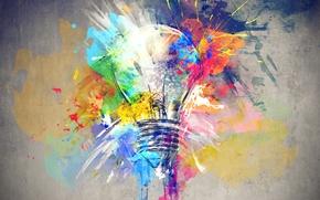 Картинка лампочка, фон, краски