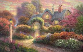 Обои цветы, сад, фонарь, живопись, коттедж, flowers, Томас Кинкейд, painting, Thomas Kinkade, cottage, флюгер, Rosebud Cottage