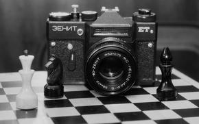 """Картинка фон, размытость, фотоаппарат, доска, фигуры, зеркальный, советский, однообъективный, """"Зени́т-ЕТ"""", шахматная"""