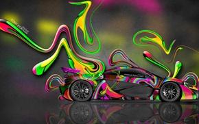 Картинка McLaren, Машина, Яркая, Стиль, Макларен, Обои, Абстракт, Photoshop, Фотошоп, Abstract, Wallpapers, Side, 2014, Разноцветная, el …