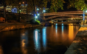 Картинка свет, ночь, мост, река, Трикала