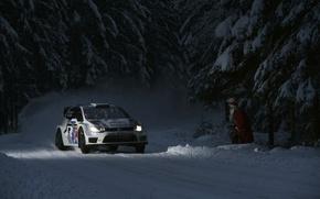 Картинка Авто, Ночь, Белый, Снег, Лес, Volkswagen, Машина, Свет, Фары, Red Bull, WRC, Rally, Polo, Дед ...