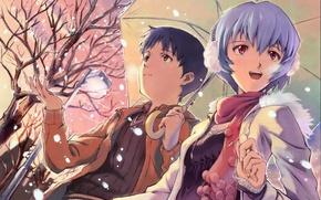 Картинка девушка, снег, дерево, улица, зонт, фонарь, парень, neon genesis evangelion, ayanami rei, ikari shinji, umbreon