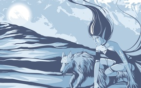 Картинка девушка, синий, волк, Вектор