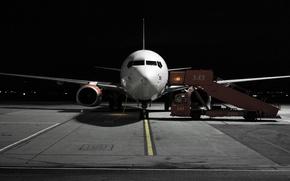 Обои ночь, самолёт, аэропорт
