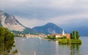 Картинка горы, озеро, остров, Альпы, Италия, Italy, Alps, Лаго-Маджоре, Lake Maggiore, Isola dei Pescatori, Изола деи …