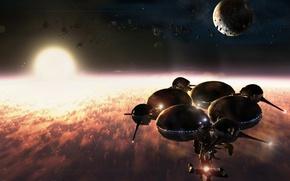 Картинка космос, звезда, планета, gamma station