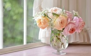 Картинка стиль, нежность, розы, букет, окно