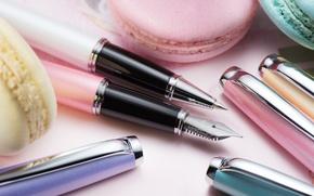 Картинка перо, ручки, канцелярия, макаруны