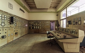 Картинка часы, стул, диспетчерская, солнечный свет, Siemens, панели