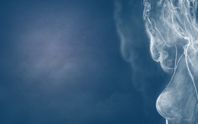 Обои smoke wooman, женщина, дым, smoke, девушка, небо, девушка из дыма, sky, girl. woomam
