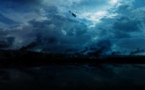 Обои дым, небо, Вертолет