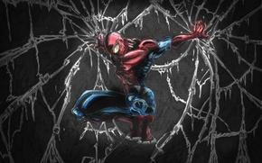 Обои мрак, peter parker, web, spider man