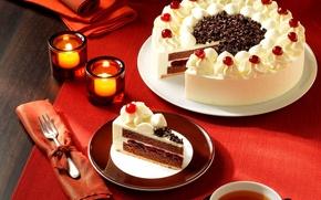 Картинка чай, еда, свечи, тарелка, торт, вилка, крем, десерт, выпечка, джем, вишенки, корж, шоколадная стружка