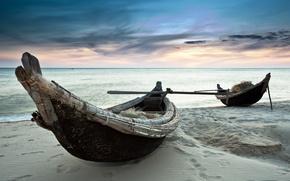 Картинка песок, море, лодки