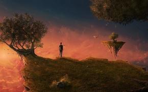 Картинка острова, облака, деревья, закат, пространство, рассвет, человек, сон, арт, костюм, галстук, art, island, man, летающие …