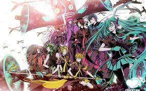 Картинка девушки, аниме, флаг, арт, самолеты, парни, vocaloid, hatsune miku, megurine luka, kagamine rin, вокалоид, kagamine …